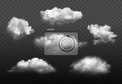 Obraz Chmury realistyczne. Niebieskie zachmurzone niebo pogoda elementy wektor zestaw zdjęć. Chmurnego powietrza środowisko, cloudscape atmosfery dymiąca ilustracja
