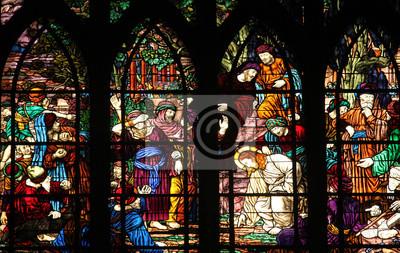Obraz Christ and the adulteress, stained glass, Saint-Jean de Montmartre church, Paris