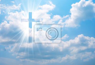 Obraz Christian cross appears bright in the sky