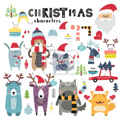 Christmas and New Year set on white background. Cute Santa Claus, forest animals in winter caps, christmas toys. Vector illustration. Scandinavian design. Lettering Christmas.