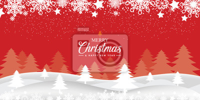 Christmas card with Magic Tree red background