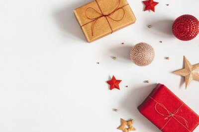 Obraz Christmas composition. Gifts, red and golden decorations on gray background. Christmas, winter, new year concept. Flat lay, top view, copy space