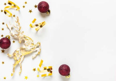 Obraz Christmas composition. Red and golden  decoration on white background. Christmas, winter, new year concept. Flat lay, top view, copy space