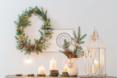 Obraz Christmas decoration on background white wall