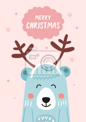 Christmas gift card or tag with cute bear in deers horns. Hand drawn design elements. Vector illustration. Great for xmas greeting, holidays postcard.