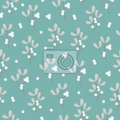 Christmas seamless pattern with mistletoe on mint background