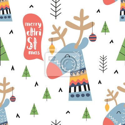 Christmas seamless pattern with stylized christmas deer and fir tree on white background. Unique hand drawn design.Vector illustration. Great for greeting postcard, nursery poster, wrapping.