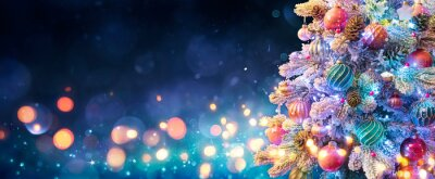 Obraz Christmas Tree With Ornaments In Blue Night - Balls On Fir Branches With Defocused Lights In Abstract Background