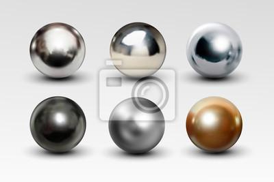 Obraz Chromowa piłka ustawia realistyczny odosobnionego na białym tle