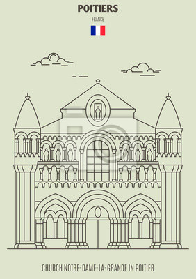 Church Notre-Dame-La-Grande in Poitier, France. Landmark icon