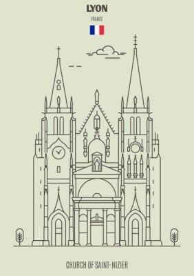 Church of Saint-Nizier in Lyon, France. Landmark icon