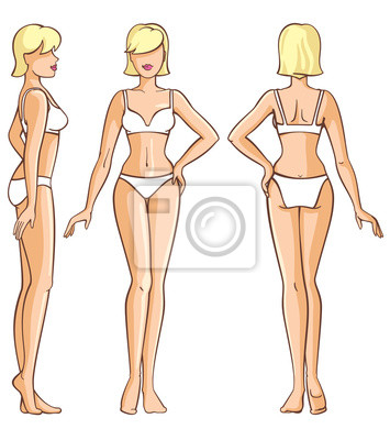 3a4e5fd469d29b Obraz ciało kobiety - przód, tył i widok z boku na wymiar • piękno ...