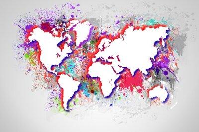 Obraz Cieknący mapę świata. Podstawowe obrazu dzięki uprzejmości NASA.