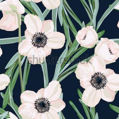 Obraz Ciemiężycowy anemonowa Bożenarodzeniowa zimy róży kwiecista bezszwowa deseniowa tekstura. Różowe czarne kwiaty z zielonymi liśćmi liści na ciemnym granatowym tle. Ilustracja wektorowa botaniczna. Ciem