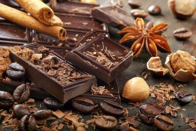 Obraz Ciemna czekolada z ziaren kawy cynamonu i anyżu