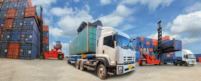 Obraz Ciężarówka z Przemysłowej Cargo Container Logistic Import Export dla biznesu