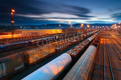 Obraz Ciężarowy transport z pociągów i kolei