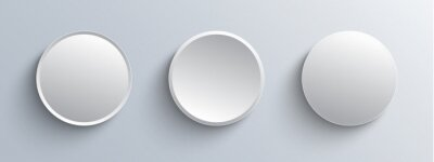Obraz Circle buttons white and gray, 3D navigation  panel for website, editable vector illustration.