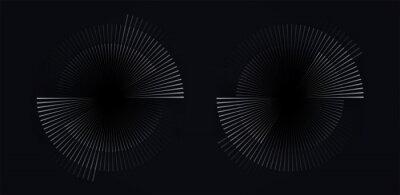 Obraz Circular spiral sound wave rhythm from lines white color on dark background.