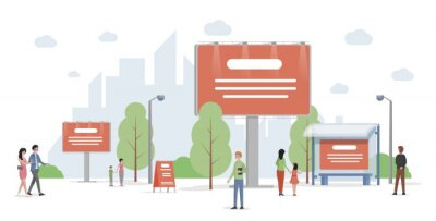 Obraz City advertising vector flat illustration. Urban cityscape with billboards and banners. Business, company promotion, marketing campaign concept. Outdoor landscape with commercial information.