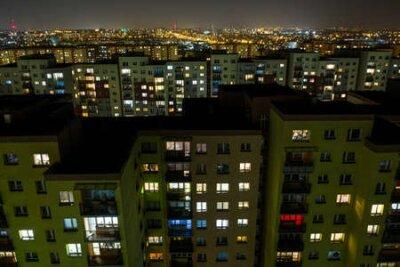 Obraz City at night, flats in night lights in Dabrowa gornicza, Silesia, Poland