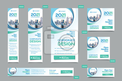 Obraz City Background Corporate Web Banner Template in multiple sizes. Easy to adapt to Brochure, Annual Report, Magazine, Poster, Corporate Advertising media, Flyer, Website.
