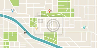 Obraz City map navigation. GPS navigator. Point marker icon. Top view, view from above. Abstract background. Cute simple design. Flat style vector illustration.