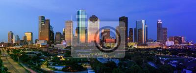 Obraz City of Houston Skyline July 4th 2018 with dramatic sunset