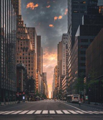 Obraz city skyline Strett beautify scene people horizon sky clouds buildings skyscraper usa New York