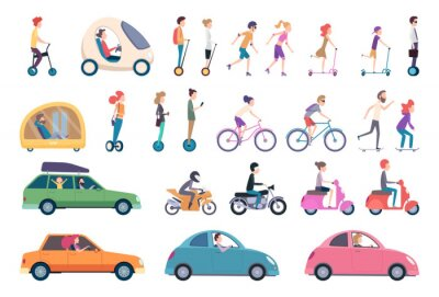 Obraz City transport. People driving cars scooter bike hoverboard segway urban activity people lifestyle vector set. Urban active, drive and scooter, ride transportation illustration