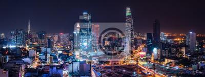 Obraz Cityscape of Ho Chi Minh City, Vietnam at night