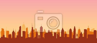 Obraz Cityscape silhouette urban illustration. City skyline building town skyscraper horizon background