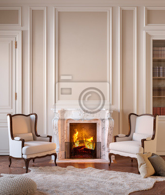 Obraz Classic beige interior with fireplace, armchairs, moldings, wall pannel, carpet, fur. 3d render illustration mock up.