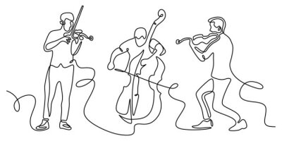 Obraz Classical musicians one line drawing. Minimalism vector illustration of cello, violin player. Single hand drawn sketch vector illustration. Contour linear design isolated on white background.