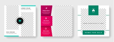 Obraz Clean editable social media templates with place for photo, business graphic layout for instagram and facebook, red and green accent