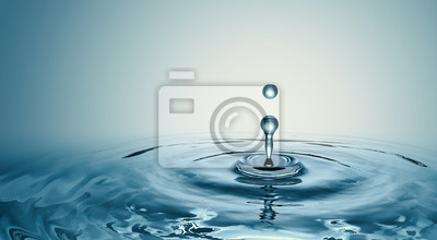 Obraz Clear Water drop with circular waves