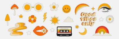Obraz Clipart of the 70s. Hippie style. Vector illustrations in simple linear style. Rainbows, flowers, abstractions, mushrooms, psychedelic style.