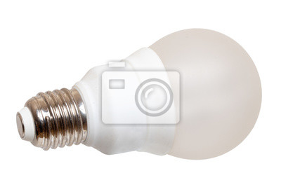 Obraz Close-up of a white energy saving compact fluorescent lightbulb or light bulb isolated on a white background. Concept of energy transition and renewable energies. Macro.