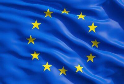 Obraz Close up of the flag of European Union. EU Flag Drapery.