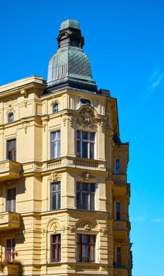 Close up picture of an old corner tenement house on Slaska Street in Szczecin, Poland.