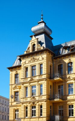 Close up picture of an old tenement house on Grunwaldzki Square in Szczecin, Poland.