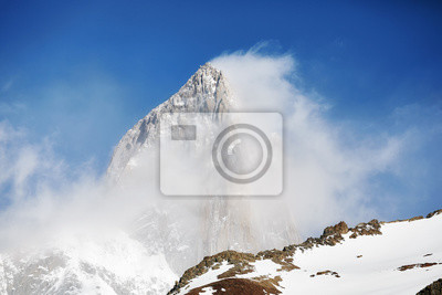 Close up picture of the Fitz Roy Mountain in clouds, Los Glaciares National Park, Argentina.