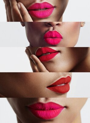 Obraz closeup collage of a woman with a bright lips