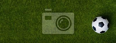 Obraz Closeup of soccer ball on green grass