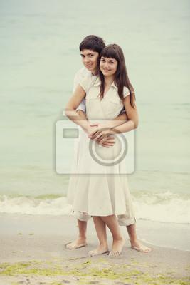 Closeup portret szczęśliwa para korzystających wakacje na plaży
