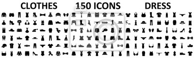 Obraz Clothes 150 icon set. Woman and man clothes and accessories collection, fashion wardrobe, dress isolated silhouettes of men and women clothing – stock vector