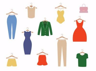 Obraz Clothing icons set, shopping elements, flat design vector.
