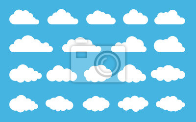 Obraz Cloud. Abstract white cloudy set isolated on blue background. Vector illustration