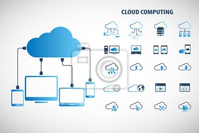 Obraz Cloud computing - Devices connected to the