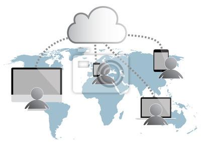 cloud computing infografikę ilustracji wektorowych. Mapa świata,